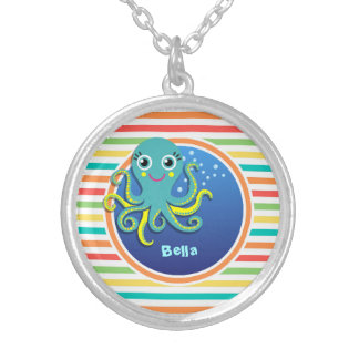 Octopus Bright Rainbow Stripes Custom Jewelry