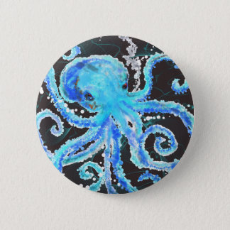 Octopus bubbles 6 cm round badge