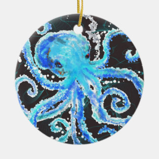 Octopus bubbles ceramic ornament