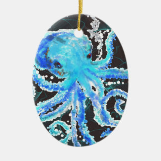 Octopus bubbles ceramic oval decoration