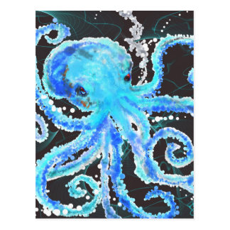 Octopus bubbles postcard