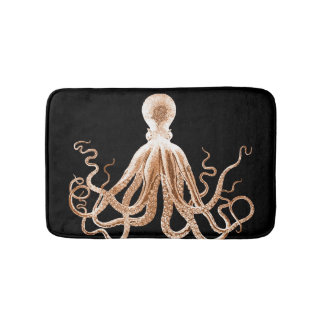 Octopus coastal ocean beach black bath mats
