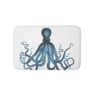 Octopus coastal ocean beach blue white bath mats
