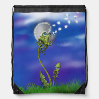 Octopus Dreams Collection, Dandelion Graphic Drawstring Backpacks