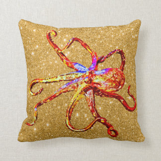 Octopus Gold Bling Glam Sparkle Cushion