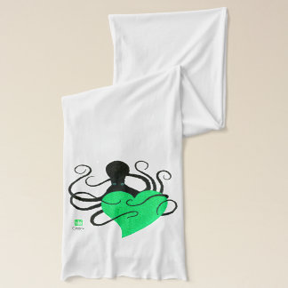 Octopus Green Heart - White Jersey Scarf