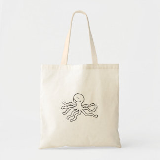 Octopus happy fun ink drawing art cute logo design canvas bags