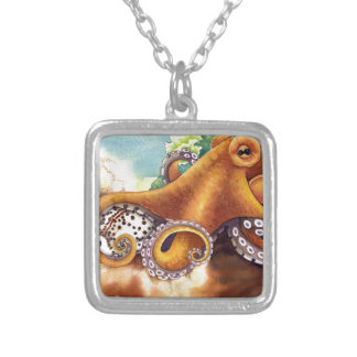 Octopus (He'e) Wrestling with Tiger Cowry Silver Plated Necklace