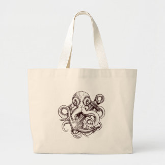 Octopus Holding Anchor Large Tote Bag