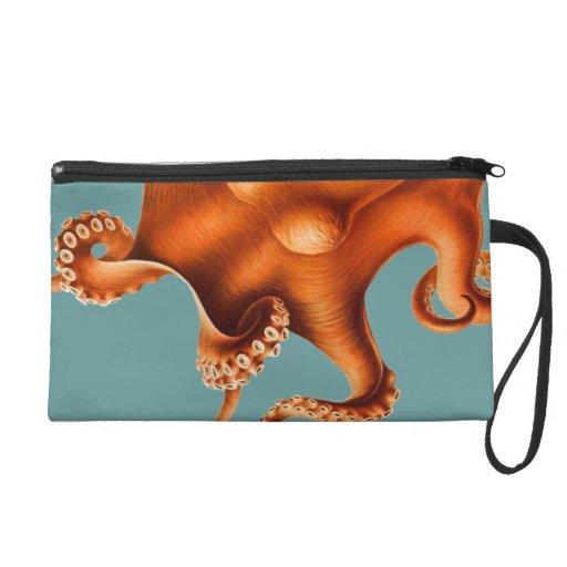 Octopus Illustration Wristlet Purses