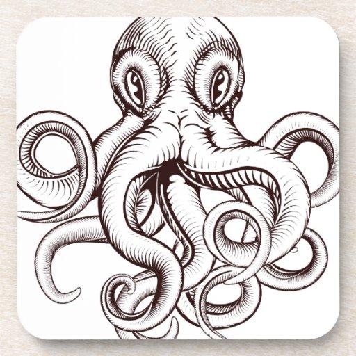 Octopus illustration beverage coaster