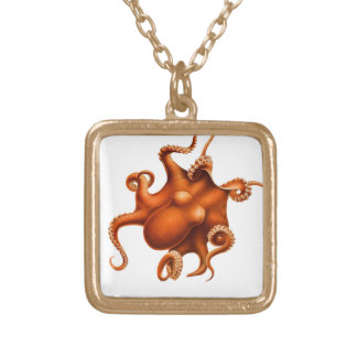Octopus Illustration Square Pendant Necklace
