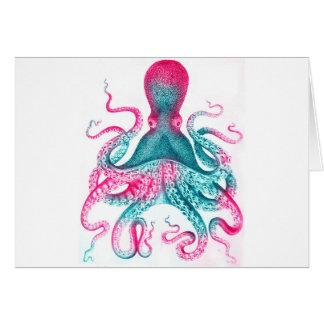 Octopus illustration - vintage - kraken card