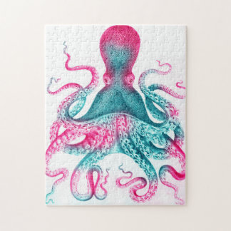 Octopus illustration - vintage - kraken jigsaw puzzle