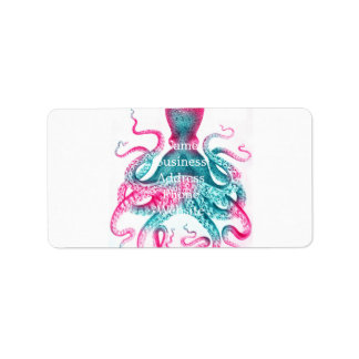 Octopus illustration - vintage - kraken label