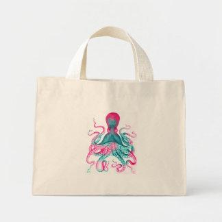 Octopus illustration - vintage - kraken mini tote bag