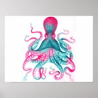 Octopus illustration - vintage - kraken poster