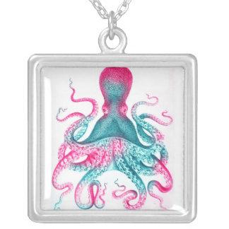 Octopus illustration - vintage - kraken silver plated necklace