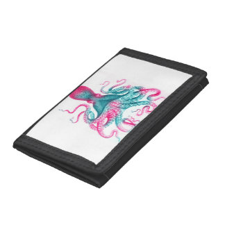 Octopus illustration - vintage - kraken tri-fold wallet