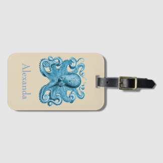Octopus in blue and tan Personalized Luggage Tag