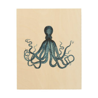 Octopus kraken blue coastal watercolor wood wall decor