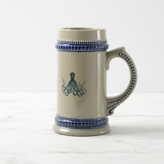 Octopus kraken nautical coastal ocean beach blue beer stein
