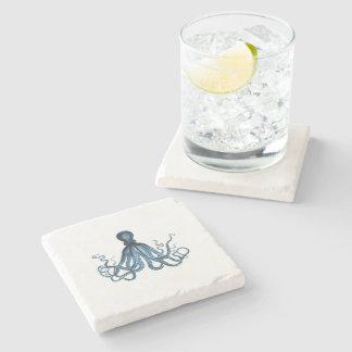 Octopus kraken nautical coastal ocean beach blue stone coaster