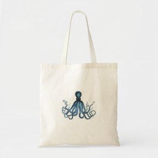 Octopus kraken nautical coastal ocean beach blue tote bag