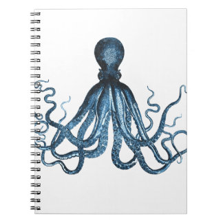 Octopus kraken nautical coastal ocean sea blue notebooks