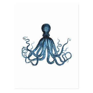 Octopus kraken nautical coastal ocean sea blue postcard