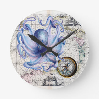 Octopus Map Nautica Wallclock