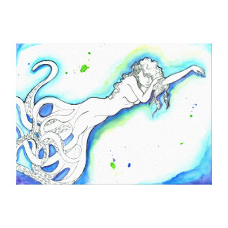 """""""Octopus Mermaid"""" Outstretched Canvas Wrap"""
