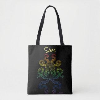 Octopus Nautical Art Floral Rainbow Pride Black Tote Bag