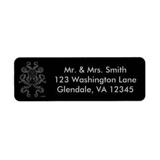 Octopus Nautical Ocean Art Grey Black Address Return Address Label