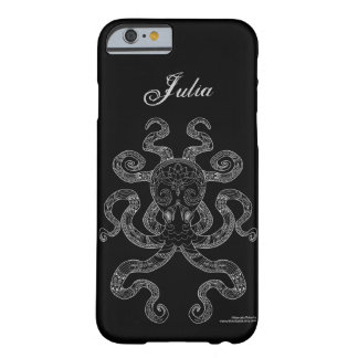Octopus Nautical Ocean Art Outline Grey Black Name Barely There iPhone 6 Case