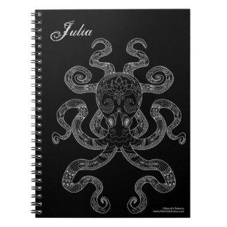 Octopus Nautical Ocean Art Outline Grey Black Name Notebooks