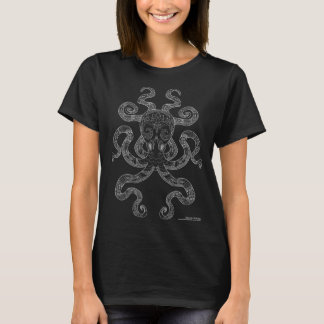Octopus Nautical Ocean Art Outline Grey Black T-Shirt