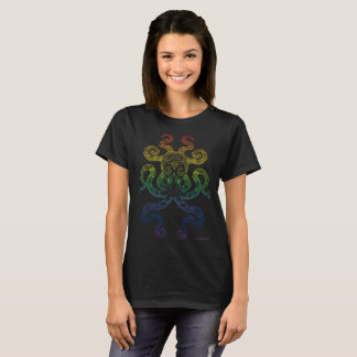 Octopus Nautical Ocean Art Rainbow Pride Black T-Shirt
