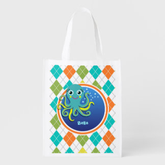 Octopus on Colorful Argyle Pattern Market Totes