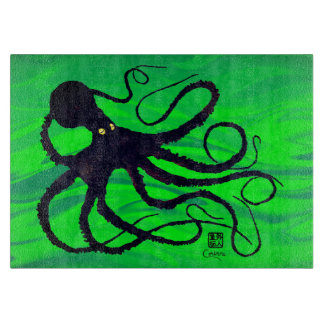 "Octopus on Green - 11"" x 8"" Glass Cutting Board"