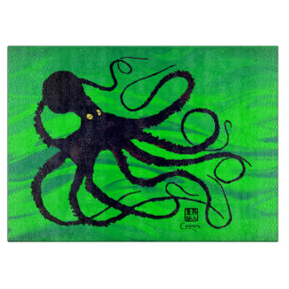 "Octopus on Green - 15"" x 11"" Glass Cutting Board"