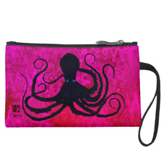 Octopus On Hot Pink - Sueded Mini Clutch