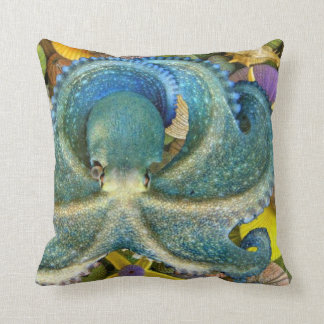 Octopus on Seashells Throw Pillow