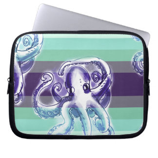 octopus on stripes background laptop computer sleeve