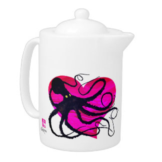 Octopus on Two Tone Pink ❤ - 44 oz. Teapot