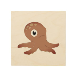 Octopus on wood : Original drawing Wood Print