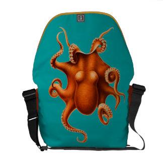 Octopus - Orange Messenger Bags