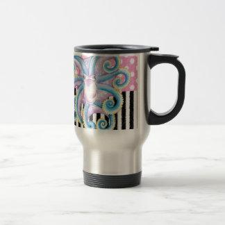 octopus pink pattern travel mug