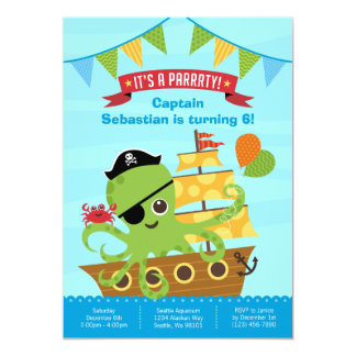 Octopus Pirate Birthday Invitation