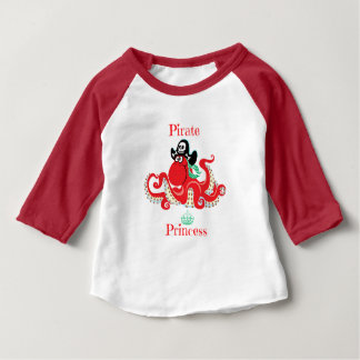 Octopus Pirate Princess Baby 3/4 Sleeve Baby T-Shirt